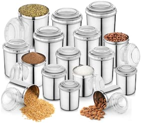 JENSONS Round Stainless Steel 16 Pcs Canister  Silver Set of 16