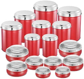 JENSONS 13700 ml Red Stainless steel Container Set - Set of 16