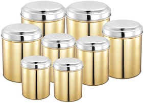 JENSONS 10400 ml Golden Stainless steel Container Set - Set of 8