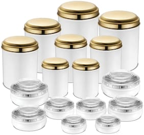 JENSONS 13700 ml White Stainless steel Container Set - Set of 16