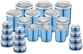 Jensons Stainless Steel Container Sets & Combos Blue Set of 24