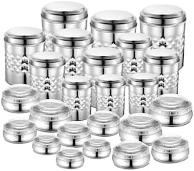 JENSONS 20550 ml Silver Stainless steel Container Set - Set of 24