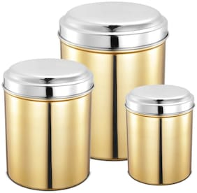 JENSONS 3000 ml Golden Stainless steel Container Set - Set of 3