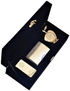 JEWEL FUEL 24K Gold Plated Gold Bar Paper Weight;Visiting Card Holder and Apple Shape Table Clock Gift Set