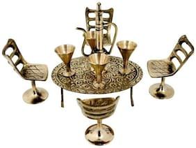 JEWEL FUEL Brass Antique Finish Chair Table Set Miniature Showpiece
