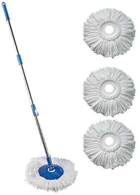 Jianagm Stainless Steel and Plastic Mop with 360 Degree Rotating with Refills Set (Standard Size;3 Refill Free).