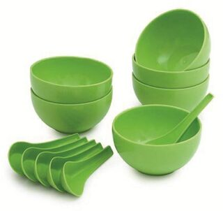 JICKY Round Big Soup Bowl with Spoon