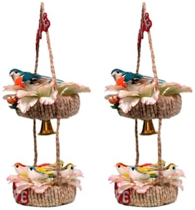 Jinagam Handcrafted Color Couple 6 Birds With Bell Design Wall Hanging Decorative Showpiece for Hotel Home car Decor Decorative and for Toddler and Kids