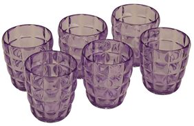 JM GROUP  Jaypee Plus Swizz Plastic Microwave Glass Set, 350 ml/5 cm, 6-Pieces, Voilet