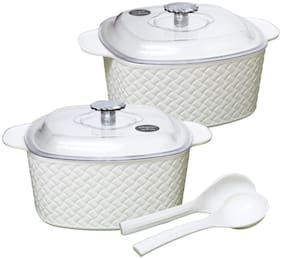 JM GROUP Jaypee Plus Plastic Festiva Casserole Twin Set White MICROWAVE SAFE
