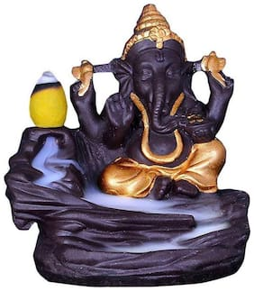 JMO27Deals Heritage Ganesha Smoke Fountain Incense Burner Lord Ganesh ji Smoke Backflow Cone Incense Holder