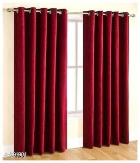 JMT Polyester Window Semi Transparent Maroon Regular Curtain ( Eyelet Closure , Solid )