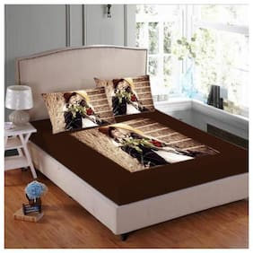 JMT Velvet Printed Double Size Bedsheet 180 TC ( 1 Bedsheet With 2 Pillow Covers , Multi )