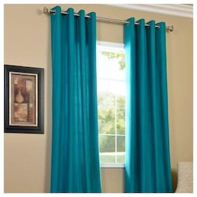 JMT Polyester Window Semi Transparent Turquoise Regular Curtain ( Eyelet Closure , Solid )
