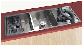 JNS Reputed Double Bowl With Drainboard Kitchen Sink 54x18x10 inch