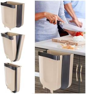 John Richard Hanging Folding Dustbin for Kitchen Cabinet Door;Small Collapsible Foldable Waste Bins Trash Can;Hanging Trash Holder and Normal Floor Dustbin
