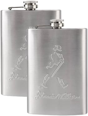 Johnnie Walker Stainless Steel Hip Flask Alcoholic Beverage Holder (Pack of 2 )