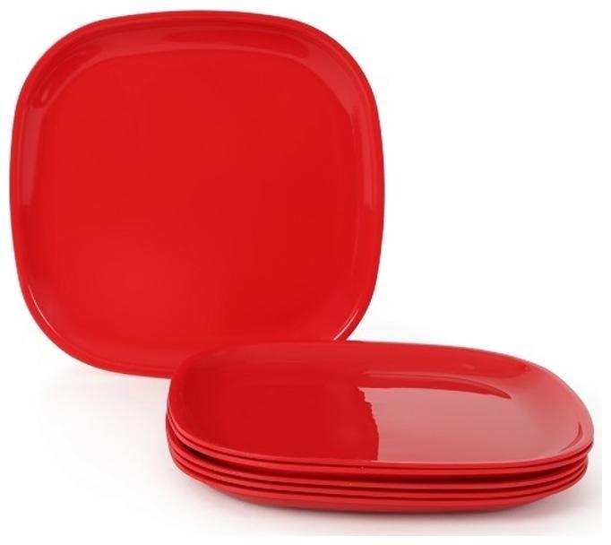 Joy Home Microwave Safe Full Plates 6 pcs;Square;Cherry