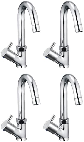 Joyway FLORA SWAN NECK PILLAR TAP FOR WASH BASIN, BRASS QUARTER TURN, FOAM FLOW, 360 DEGREE SWIVEL SPOUT - PACK OF 4 PIECES Deck Mount Brass Basin and Sink Taps ( Handle Controlled )