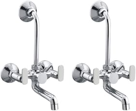 Joyway SOLO WALL MIXER 2 IN 1 TAP BRASS, WITH MIXER BEND, FOAM FLOW, QUARTER TURN - PACK OF 2 PIECES Wall Mount Brass Wall Mixers ( Handle Controlled )