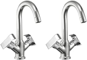 Joyway SWIFT BASIN MIXER TAP BRASS, WASH BASIN PILLAR TAP WITH FOAM FLOW, QUARTER TURN - PACK OF 2 PIECES Deck Mount Brass Basin and Sink Mixers ( Handle Controlled )