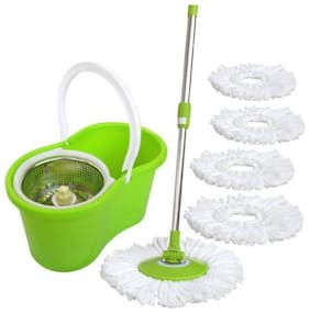 R J steel bucket Spin Mop With 3 Microfiber Mop Pads (Assorted)
