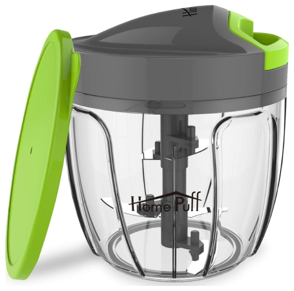 Jumbo Vegetable Chopper; Cutter; Whisking Set with Storage Lid for Kitchen; 5 SS Blades + Whisker Blade (900 ml)