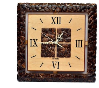Buy Just Frame Yellow Wooden Square Wall Clock Online At Low Prices