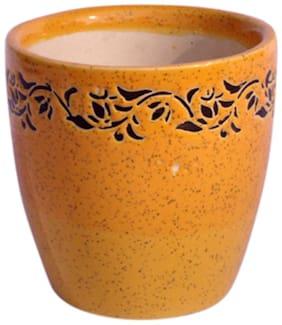 Just Originals Medium Tumbler Shape Ceramic Flower Pot with Print