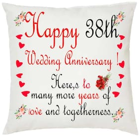 Juvixbuy Happy 38th Wedding Anniversary ! Printed White Cushion (12 inch x 12 inch)with Filler