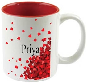 Juvixbuy I Love You Priya--Printed Inside Red Ceramic Coffee Mug