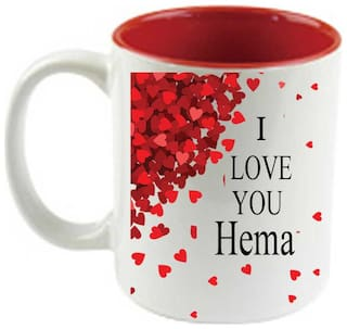 Buy Juvixbuy I Love Hema Inside Red Ceramic Coffee Mug Online At Low Prices In India Paytmmall Com