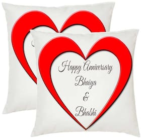Juvixbuy Printed Happy Anniversary Bhaiya & Bhabhi Square Shaped Cushions Cover with Cushions filler set of 2 (12x12)
