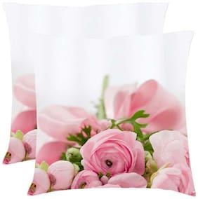 Juvixbuy Printed Flowes 001 Cushions Cover with Cushions filler set of 2 (12x12)