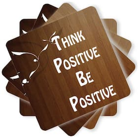 Juvixbuy Printed Keep Think Positive be Positive Wooden Coasters (Set of 4)