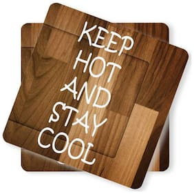 Juvixbuy Printed Keep Hot AND STAY COOL Wooden Coasters (Set of 2)