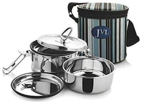 JVL 2 Containers Stainless steel Lunch Box - Silver