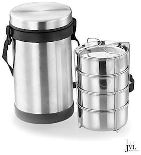 JVL 4 Containers Stainless steel Lunch Box - Silver