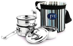 JVL 3 Containers Stainless steel Lunch Box - Silver