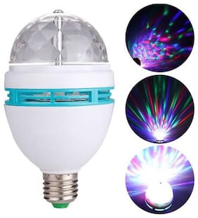 K Kudos 3W Colorful Auto Roating RGB LED Bulb Stage Light Party Lamp Disco Light (pack of 1)