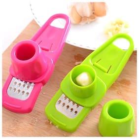 K Kudos Multifunction Plastic+Stainless Steel Garlic Press Mini Ginger Grinding Grater Garlic Crusher Peeler Press Grater Slicer Cutter