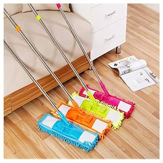 K Kudos Wet and Dry Cleaning Flat Microfiber Floor Cleaning Mop with Telescopic Long Handle Dry Mop, Standard (Multicolour)