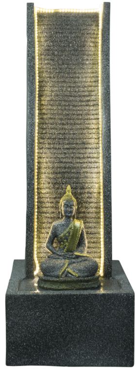 Kaarigari Artifacts Decorative Slate Water Fountain with Lord Buddha Statue (Black Stone)