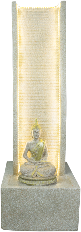 Kaarigari Artifacts Decorative Slate Water Fountain with Lord Buddha Statue (Beige)