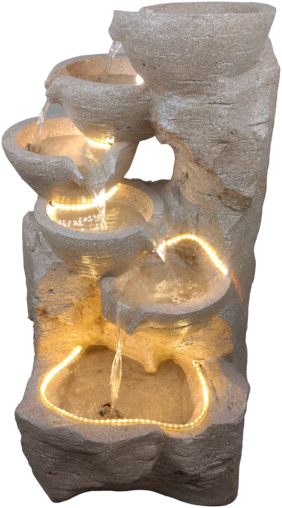 Kaarigari Artifacts 5 Bowl Water Fountain (Beige)