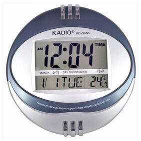 Kadio Digital Silver Plastic Wall Clock