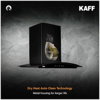 Kaff Wall Mounted Auto Clean 60 cm 1250 m3/h Black Chimney ( LIZ BF DHC 60 )