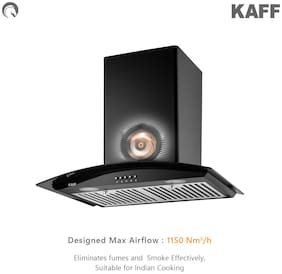 Kaff Wall Mounted 60 cm 1150 m3/h Black Chimney ( LUX BF 60 BLK )