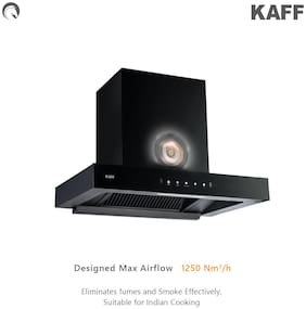 Kaff Wall and Ceiling Mounted Auto Clean 60 cm 1250 m3/h Black Chimney