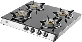 Kaff KC 57 4B -SS 4 Burner Automatic Regular Silver Gas Stove , ISI Certified